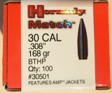 Hornady Match .308 30 CAL 168gr BTHP
